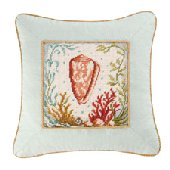 Natural Shells Blue Needlepoint Pillow