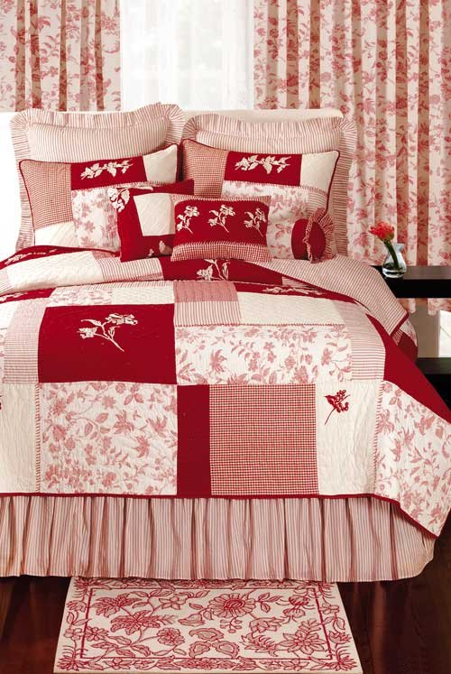 brighton red toile blocks quilt and bedding