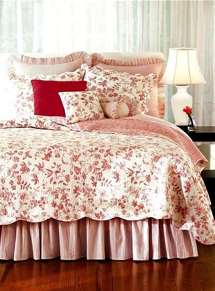 Brighton Red Toile Quilt And Bedding