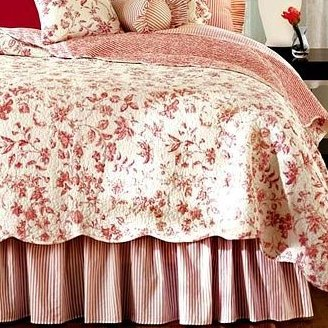 Brighton Red Toile Quilted Throw Blanket
