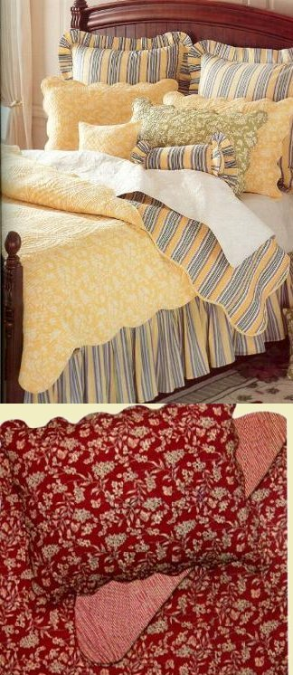 Red Toile Quilt And Bedding