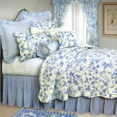 Brighton Blue Toile Quilt and Bedding