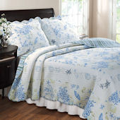 Greenland Home Fashions Coral Blue Quilt Set