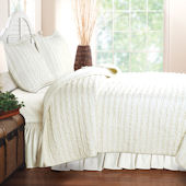 Greenland Home Fashions Ruffled Ivory Quilt Set