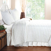 Greenland Home Fashions Ruffled White Quilt Set