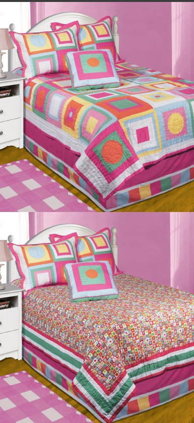 Quilt Pattern Uptown Girl : Uptown Girl Twin Reversible Quilt Bedding Set