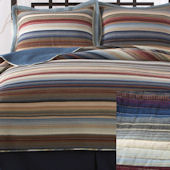 Retro Stripe Natural Quilt Set