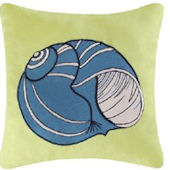 Embroidered Blue Shell Pillow SALE