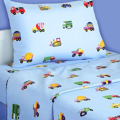 Trains Planes And Trucks Twin Flannel Sheet Set
